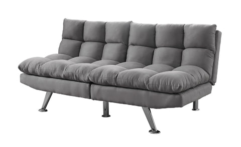 FUTON - SPLIT BACK CONVERTIBLE SOFA / GREY MICRO-SUEDE  MN-8988