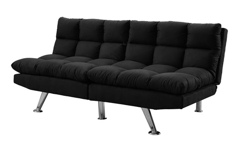FUTON - SPLIT BACK CONVERTIBLE SOFA / BLACK MICRO-SUEDE  MN-8990