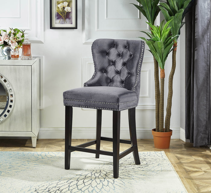 Bar Stool - Grey Velvet Fabric  ST-6010
