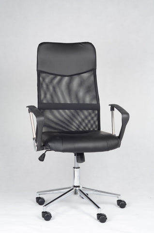 Office Chair, Black PU Vinyl and Mesh   IF-7400