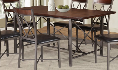 Dining Table Only - Distressed Wood and Metal Base T-1035