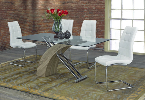 5 Pc Dining Set with White Chairs T-1042 | C-1751