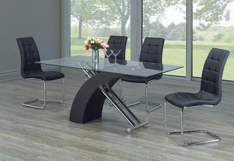 5 Pc Dining Set with Black Chairs T-1046 | C-1750