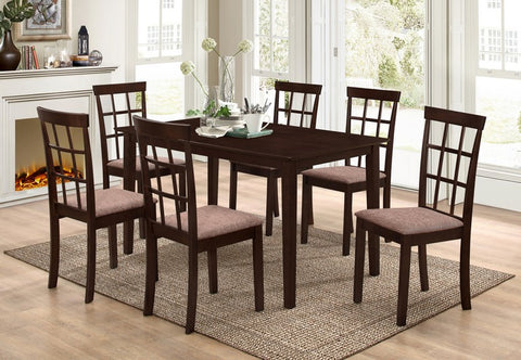 7 Pc Dining set - Wooden Table and chairs  T-1048 / C-1010