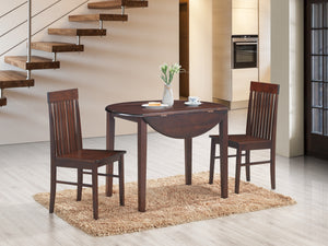 3Pc Dining Set - Drop Leaf  Round Table  T-1072 | C-1072