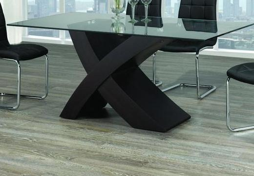 "Table only - Glass ""X"" shape with Espresso Base T-1092"