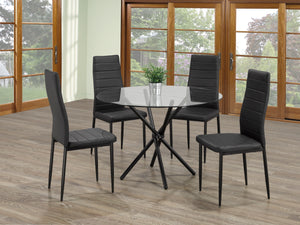 5 Pc Dining Set Glass Round Table   T-1429 | C-5053