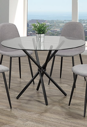 Table Only - Round Glass with Black Legs  T-1429