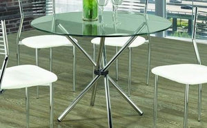 Dining Table Only - Round Glass with Chrome Legs T-1430