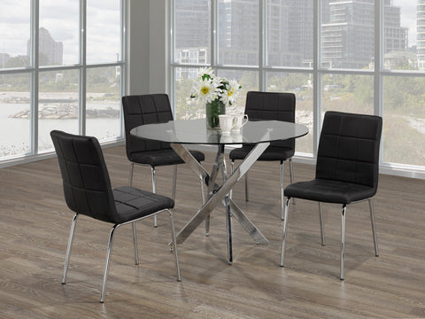 5Pc  Dining Set - Round Glass Table with Chrome Legs  T-1447 | C-1760
