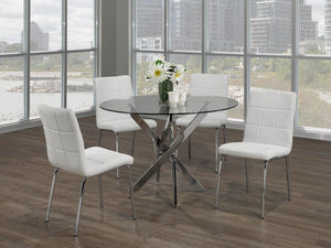 5Pc  Dining Set - Round Glass Table with Chrome Legs  T-1447 | C-1761