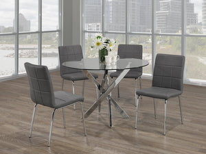 5Pc  Dining Set - Round Glass Table with Chrome Legs  T-1447 | C-1762