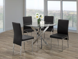 5Pc  Dining Set - Round Glass Table with Chrome Legs  T-1447 | C-5063