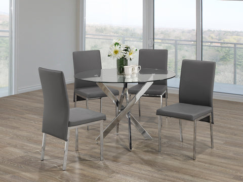 5Pc  Dining Set - Round Glass Table with Chrome Legs  T-1447 | C-5065