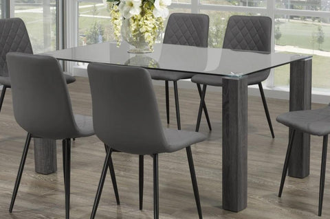 Dining Table Only - Glass Table with Wooden Legs  T-1449