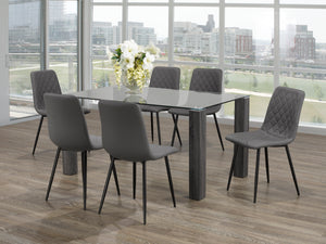 5Pc or 7Pc Dining Set - Glass Table with Wooden Legs  T-1449 | C-1712