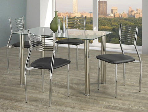 5Pc Dining Set - Chairs available in Black, Brown, Red or White