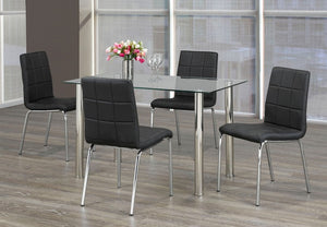 5 Pc Dining Set - Glass Table with Black Vinyl Chairs  T-1460 | C-1760