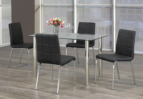 5 Pc Dining Set - Glass Table and Chrome  T-1460 C-1760 / 61 / 62