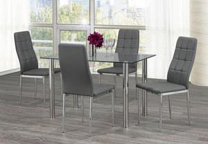 5Pc Dining Set - Glass Table & Grey Chairs  T-1460 | C-1772