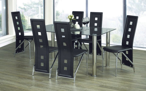 7 Pc  Dining Set Glass Table and 6 Chairs  IF-1465 | C-5066 / 5072
