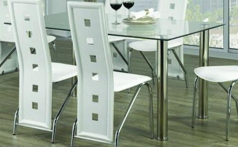 Dining Table Only - Clear Glass with Chrome Legs T-1465