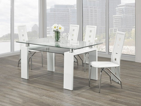 Dining Set - Glass, Chrome and Wood T-1480 | C-5072