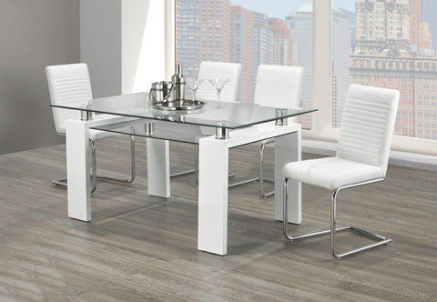 5Pc or 7Pc Dining Set - Glass, Chrome and Wood T-1480 | C-1040W