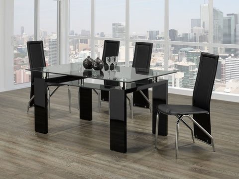 Dining Set  Glossy Black and Chairs Set  T-1485 | C-5066