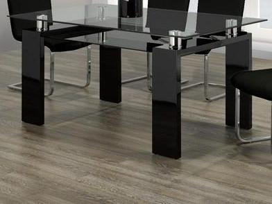 Table Only Glass and with Gloss Black Legs T-1485