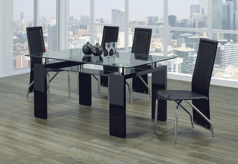 Dining Set Glossy Black and Chairs  T-1485 | C-5070