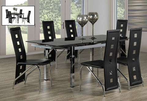 Dining Set with Adjustable Leaf Glass Table T-1505 | C-5066