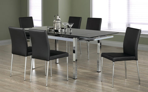 5Pc or 7Pc Dining Set with Adjustable Leaf Glass Table T-1505 | C-5064