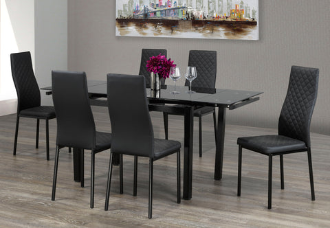5Pc or 7Pc Dining Set with Adjustable Leaf Glass Table T-1515 | C-5059 / 5061