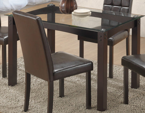 Dining Table Only - 8mm Tempered Glass, Espresso Base T-1560