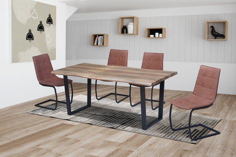 5Pc or 7Pc Dining Set with Faux Live Edge Table  T-1810 | C-1830