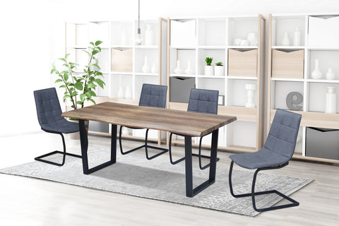 5Pc or 7Pc Dining Set with Faux Live Edge Table  T-1810 | C-1831