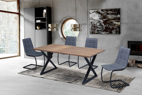5Pc or 7Pc Dining Set - Wood Table with Black X Legs  T-1812 | C-1831