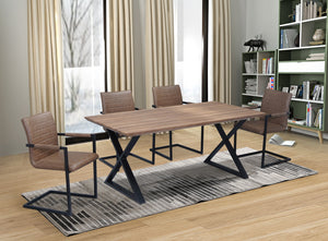 5Pc or 7Pc Dining Set - Wood Table with Black X Legs  T-1812 | C-1837