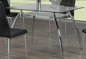 Dining Table Only - 2 Tier Glass with Chrome Legs T-5052
