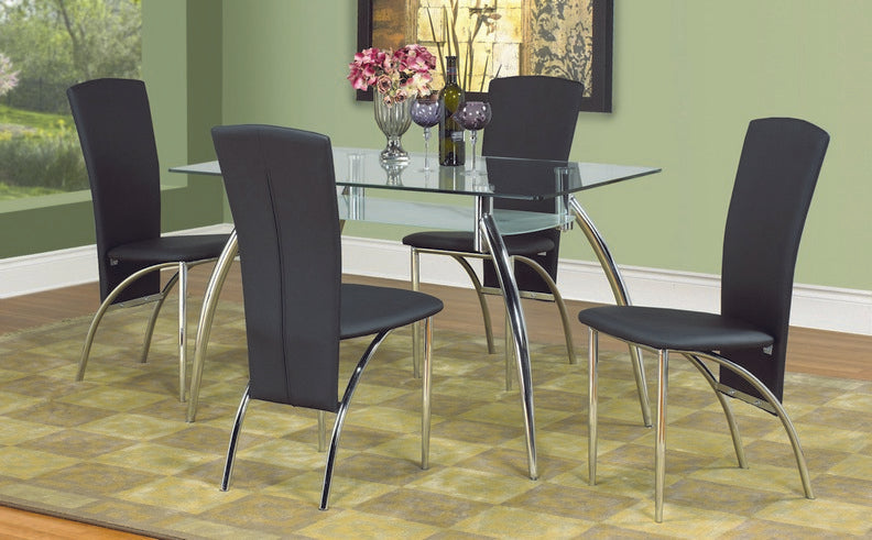 5 Pc Dining Set - 2 Tier Glass Table - Black Chairs T-5052   C-5052