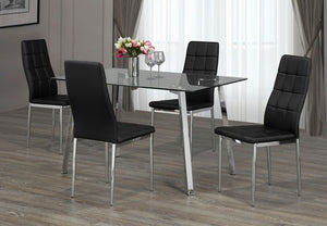 5 Pc Dining Set - Glass Table and Black Chairs  T-5065 | C-1770