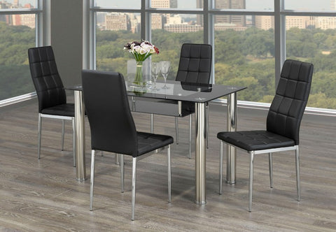 5 Pc Dining Set with Chrome and Glass  T-5069 | C-1770