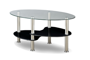 Coffee Table - Oval with Black Glass with Chrome Legs IF-2009