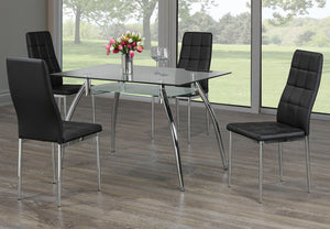 5Pc Dining Set - 2 Tier Glass Table and Black Chairs  T 5052 | C 1770