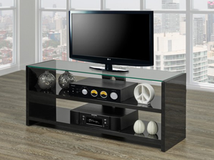 T.V Stand - Black with Clear Glass Top  IF-5020