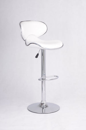 Adjustable Bar Stool - White and Chrome  ST-7703