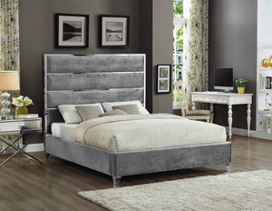 Bed - Grey Velvet Fabric with Chrome Channel  IF-5880