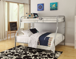 Single/Double Bunk Bed - Silver Grey Metal  IF-501G