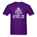 """Keep Calm and Carry On in the Lab"" (white) - Men's T-Shirt - T-Shirt - ScienceT-Shirts"
